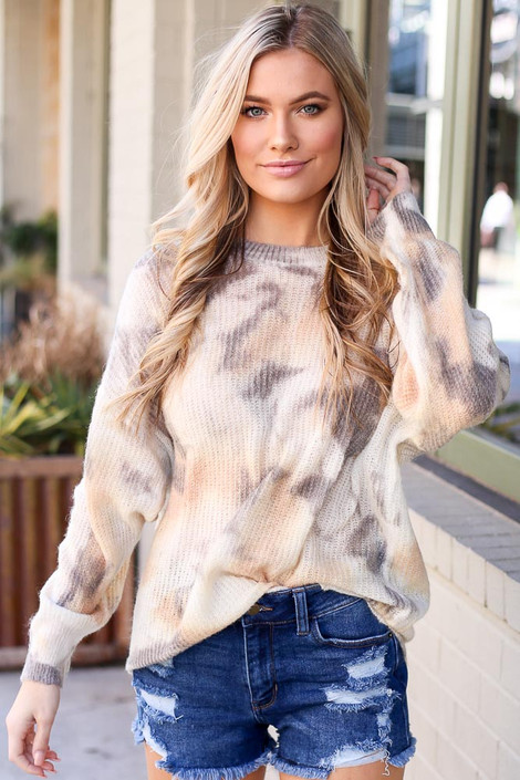 Ivory - Tie-Dye Lightweight Knit Top