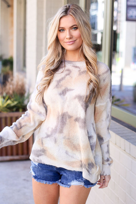 Ivory - Tie-Dye Lightweight Knit Top from Dress Up