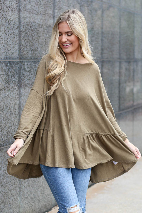 Olive - Oversized Tiered Back Top from Dress Up