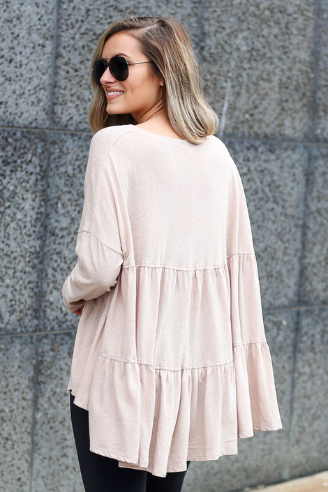 Model wearing the Oversized Tiered Back Top in Taupe Back View