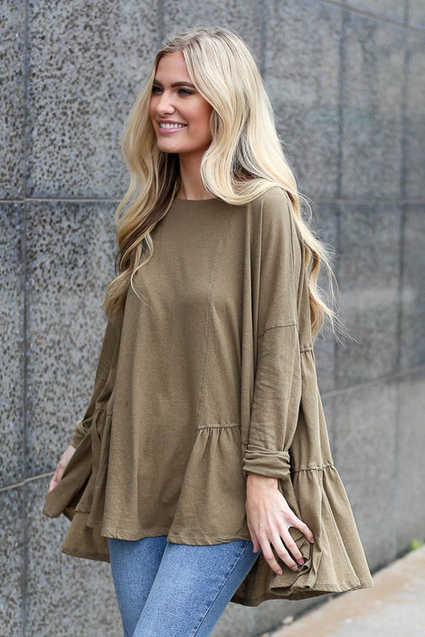 Dress Up model wearing the Oversized Tiered Back Top in Olive