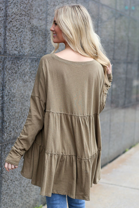 Model wearing the Oversized Tiered Back Top in Olive Back View