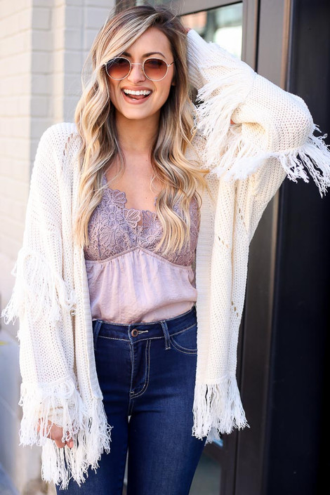 Ivory - Fringe Knit Cardigan from Dress Up