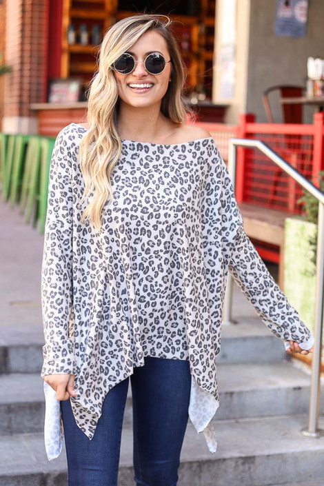 Ivory - Leopard Print Oversized Top