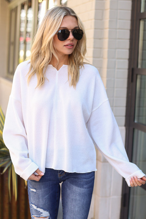 White - Ribbed Knit Oversized Top