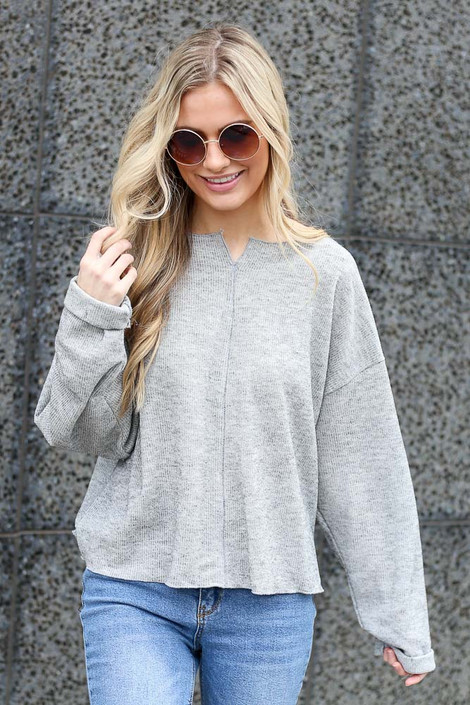 Heather Grey - Ribbed Knit Oversized Top from online boutique