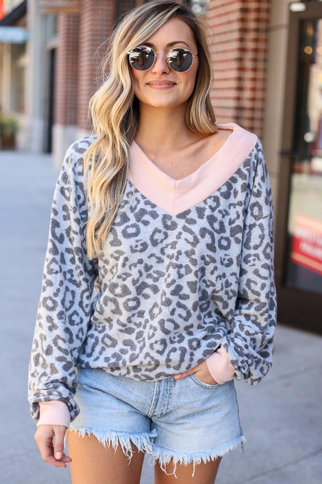 Grey - Leopard Brushed Knit Oversized Top