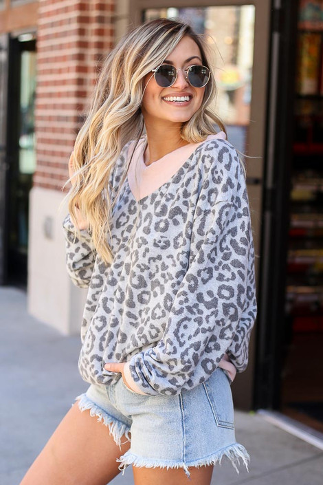Leopard Brushed Knit Oversized Top Side View