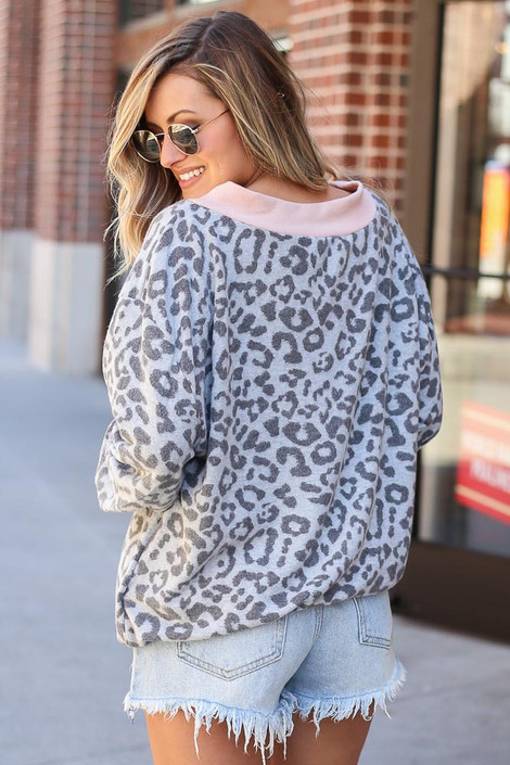 Leopard Brushed Knit Oversized Top Back View