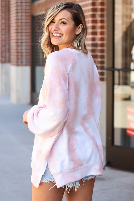 Brushed Knit Oversized Tie-Dye Pullover Back View