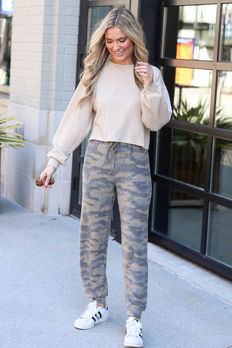 Model wearing the Brushed Knit Camo Joggers with pullover from Dress Up