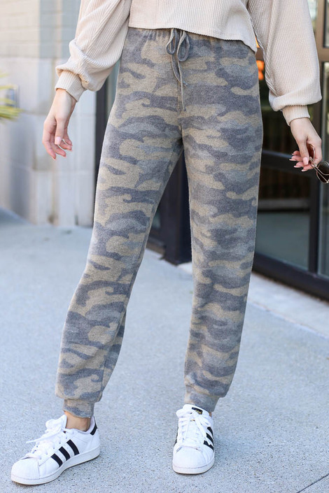 Olive - Brushed Knit Camo Joggers from Dress Up