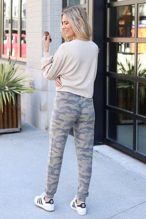 Model from Dress Up wearing the Brushed Knit Camo Joggers Back View