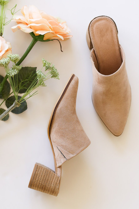 Block Heeled Mules in Taupe from an online boutique