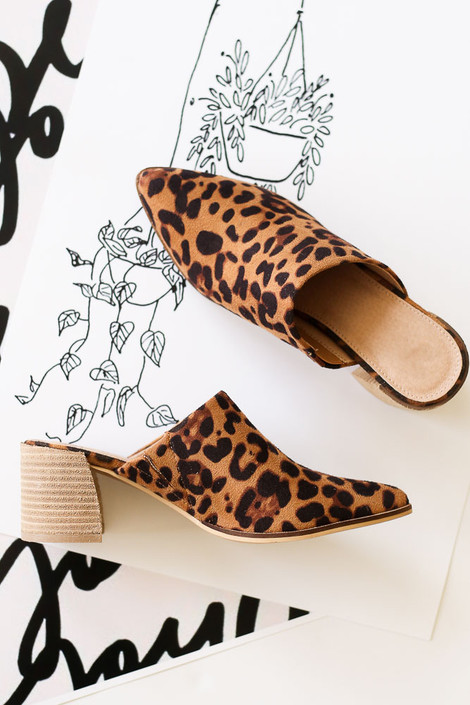 Block Heeled Mules in Leopard Flat Lay