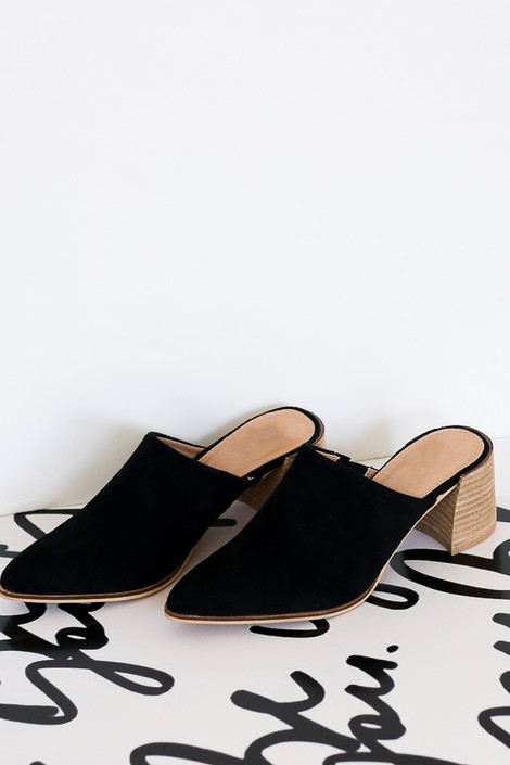 Flat Lay of the Block Heeled Mules in Black