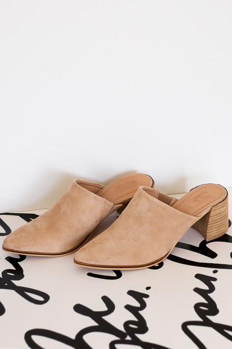 Flat Lay of the Block Heeled Mules in Taupe