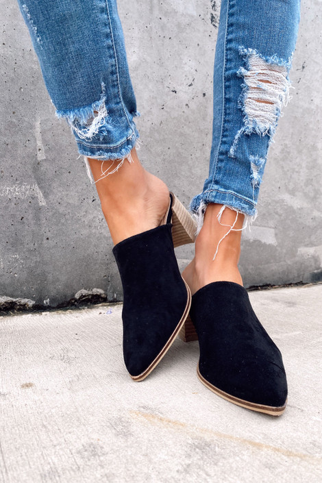 Block Heeled Mules in Black on Model Front View