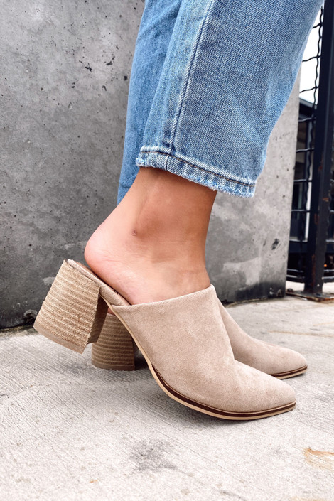Block Heeled Mules in Taupe Side View on Model