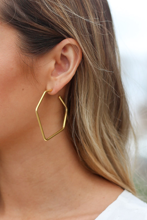 Gold - Asymmetrical Hoop Earrings