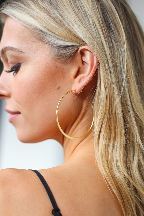 Gold - Skinny Hoop Earrings
