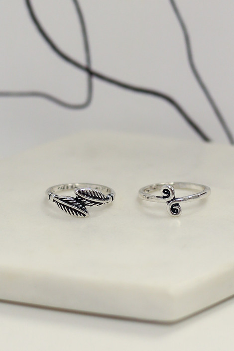 Flat Lay Close Up of 2 of the rings in the Boho Ring Set