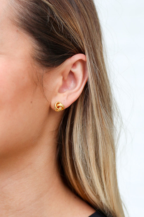 Gold - Knotted Stud Earrings from Dress Up