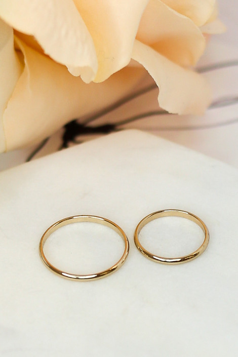 Flat Lay of the gold bands in the Dainty Ring Set