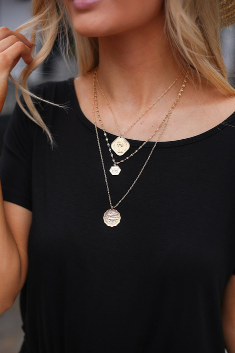 Model wearing the Layered Coin Necklace
