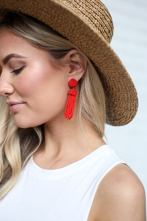 Close Up of the Beaded Tassel Earrings in Red