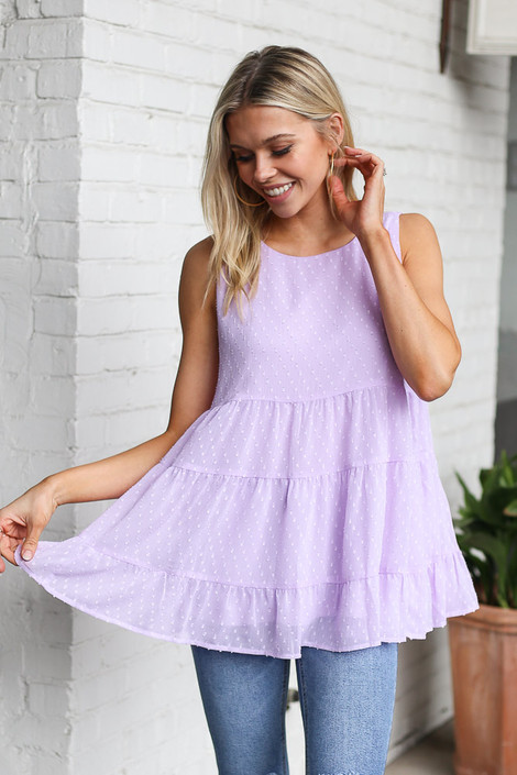 Lavender - Tiered Swiss Dot Tank Top