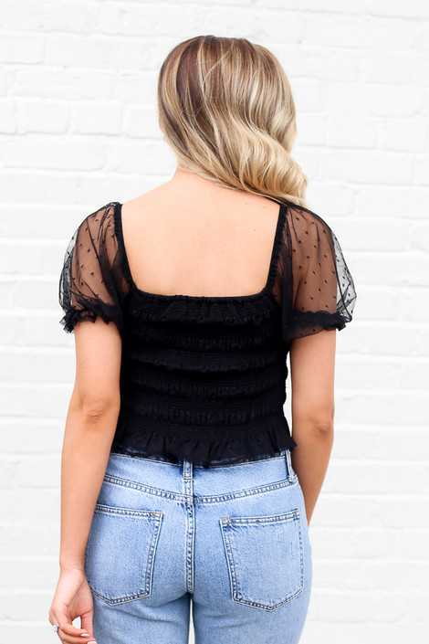 Model wearing the Puff Sleeve Smocked Crop Top from Dress Up back View