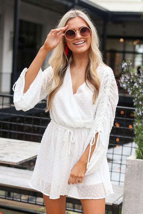 White - Gathered Sleeve Swiss Dot Romper
