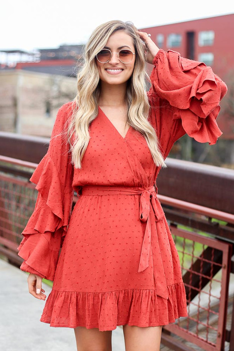 Rust - Swiss Dot Ruffle Sleeve Dress