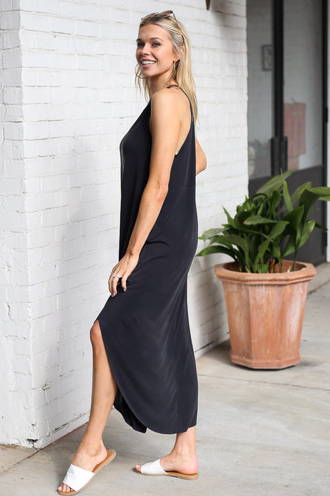 Model wearing the High Neck Maxi Dress in Black Side View