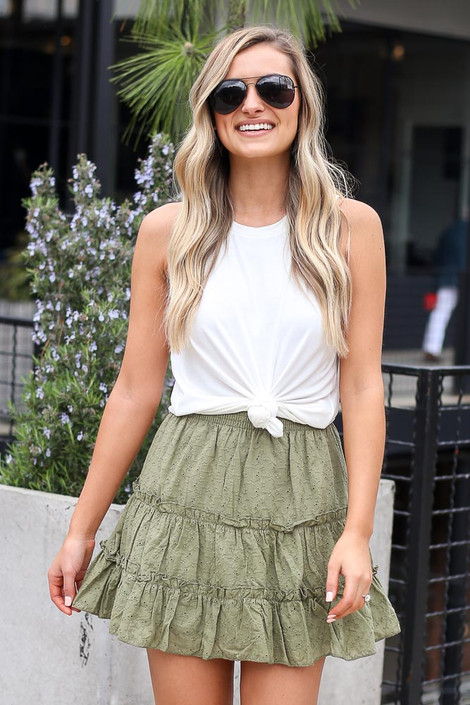 Olive - Eyelet Tiered Skirt