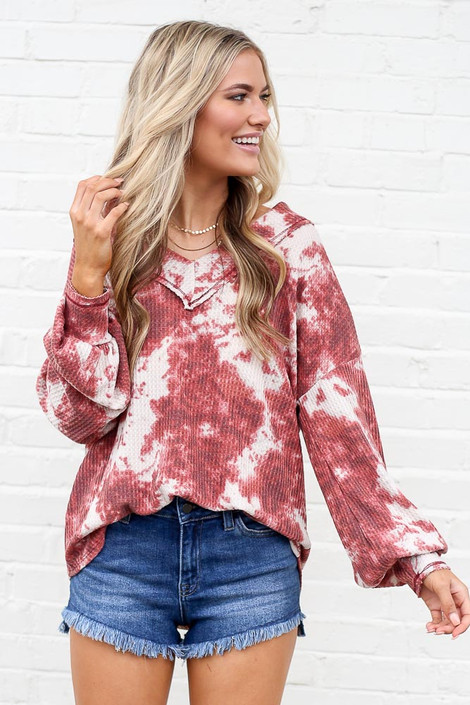 Model wearing the Tie-Dye V-Neck Waffle Knit Top with denim shorts
