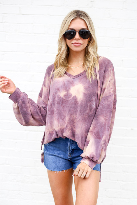 Purple - Tie-Dye Oversized Pullover Hoodie from Dress Up