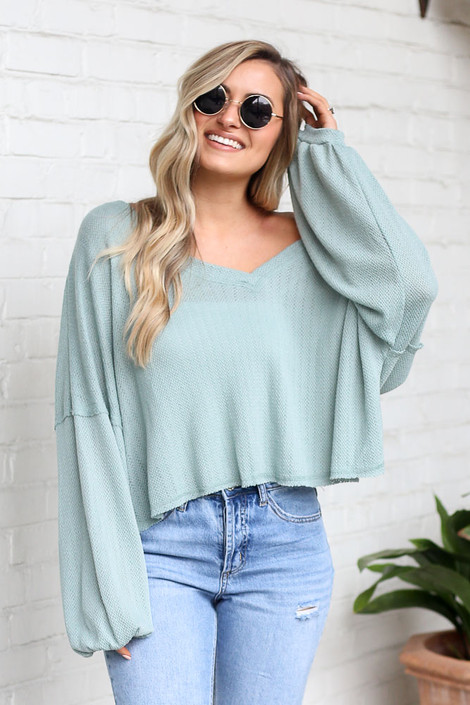 Sage - Lightweight Knit Balloon Sleeve Top from Dress Up