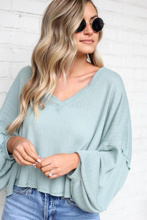 Close Up of the Lightweight Knit Balloon Sleeve Top