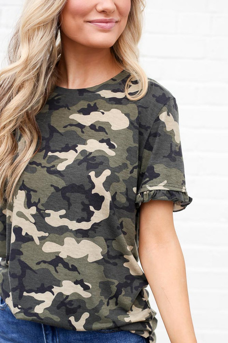 Camo - Ruffle Sleeve Tee from Dress Up