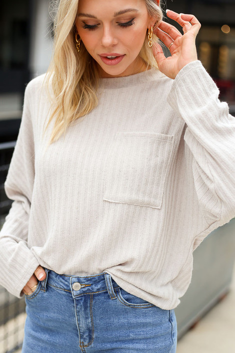 Taupe - Close Up of the Lightweight Ribbed Knit Oversized Top