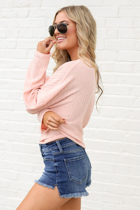 Lightweight Ribbed Knit Oversized Top in Peach Side View