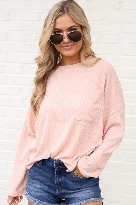 Lightweight Ribbed Knit Oversized Top in Peach Front View
