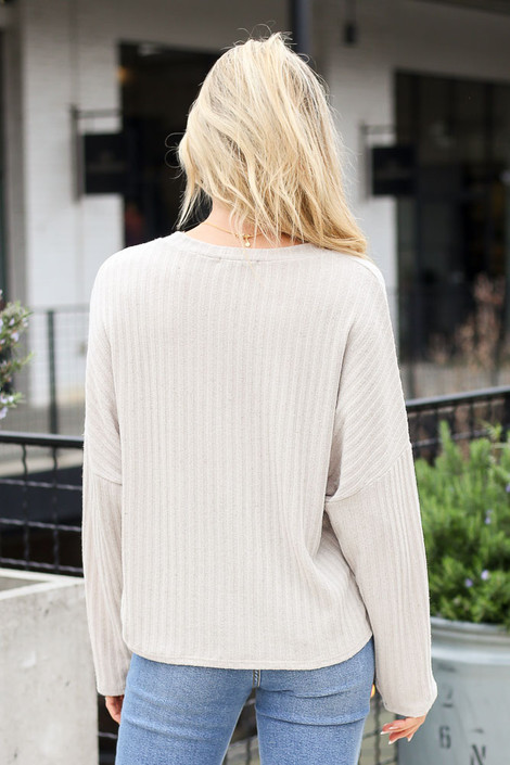 Lightweight Ribbed Knit Oversized Top in Taupe Back View