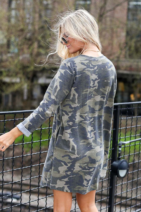 Model wearing the French Terry Camo Dress from Dress Up Back View