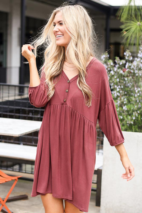 Button Front Babydoll Dress in Marsala on model from Dress Up Boutique Front View