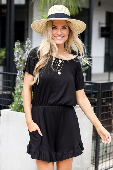 Black - Ruffled Romper
