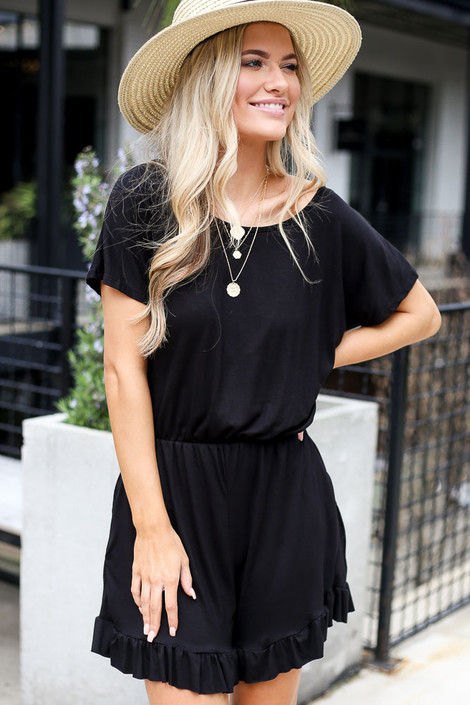 Black - Ruffled Romper from Dress Up
