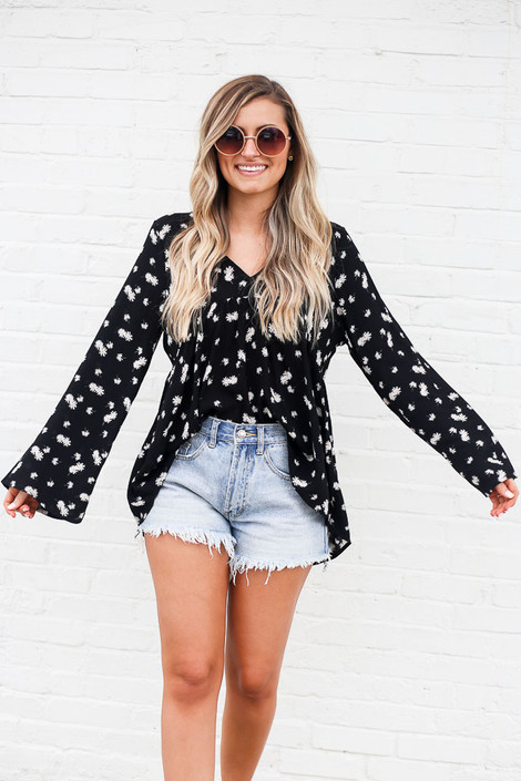 Black - Floral High-Low Babydoll Blouse